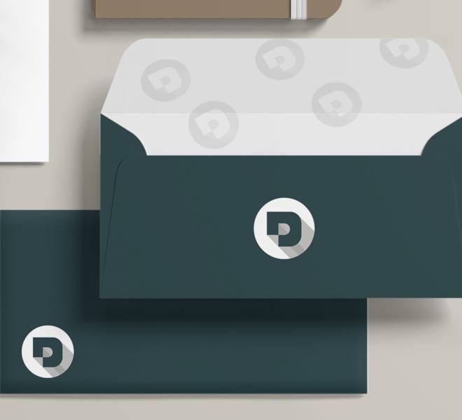 Branding Mockup Envelopes, Desuals' logo