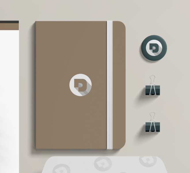 Branding Mockup Pins, Desuals' logo