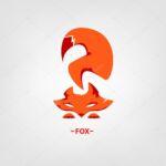 Stock illustration fox logo on a white background